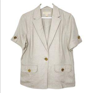 Michael Kors Tan Lightweight 100% Linen Jacket 8